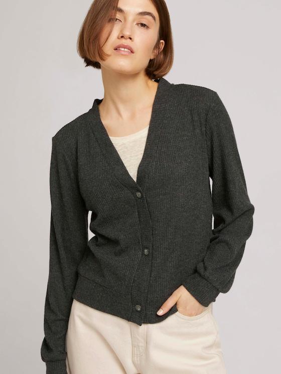 Ribbed cardigan with balloon sleeves - Women - Shale Grey Melange - 5 - TOM TAILOR Denim