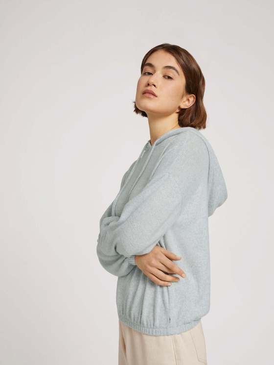 Hoodie with a drawstring and an elastic waistband - Women - grey mint melange - 5 - TOM TAILOR Denim