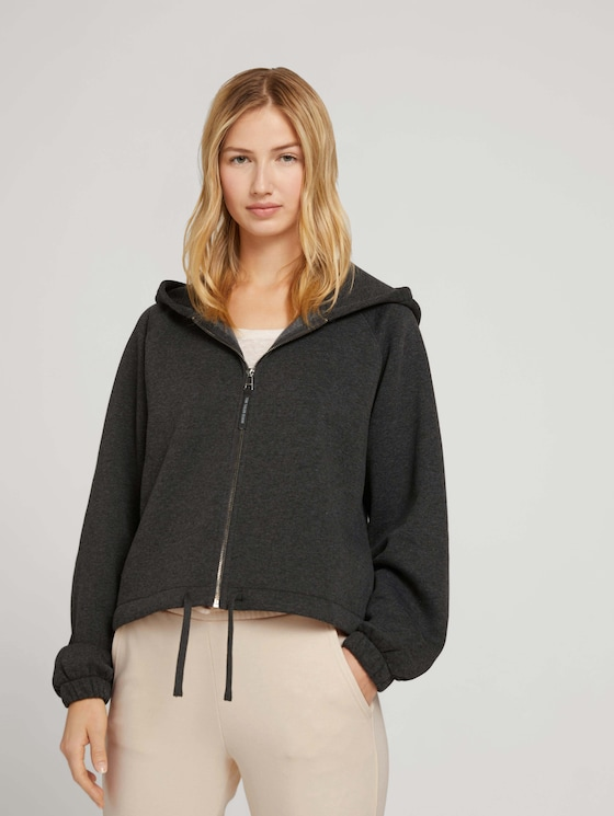Sweat jacket with raglan sleeves - Women - Shale Grey Melange - 5 - TOM TAILOR Denim