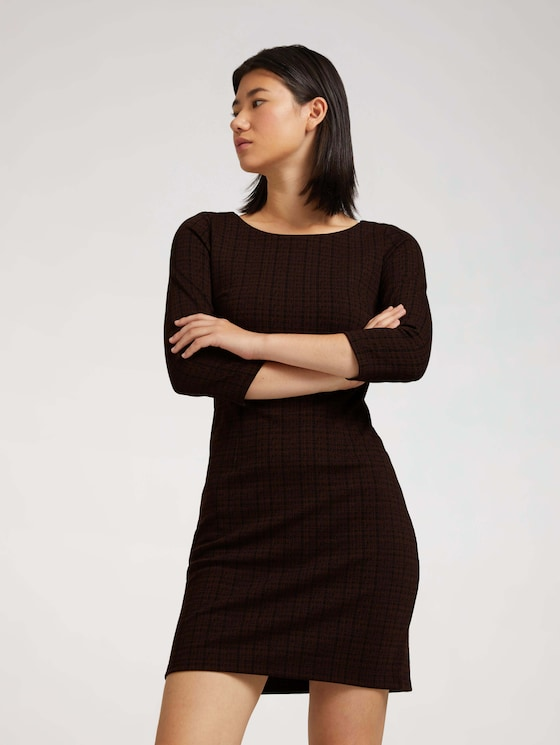 Checked shift dress - Women - black brown structure check - 5 - TOM TAILOR