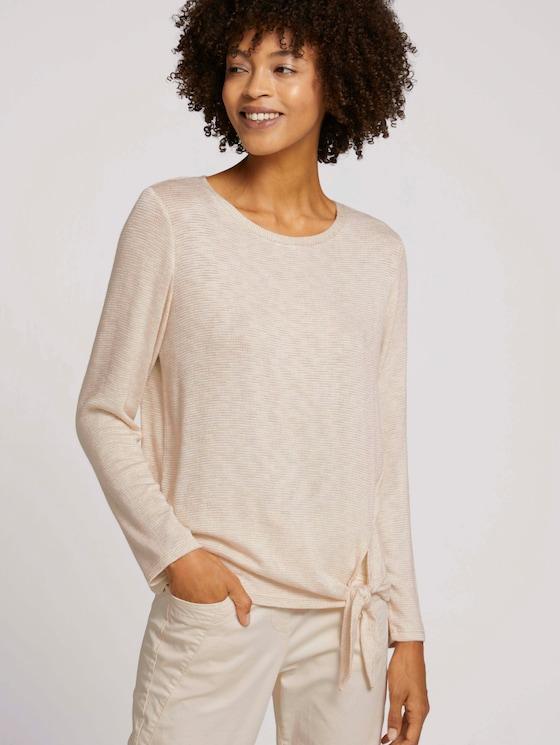 Mottled long-sleeved shirt with knot details - Women - smooth light sand melange - 5 - TOM TAILOR