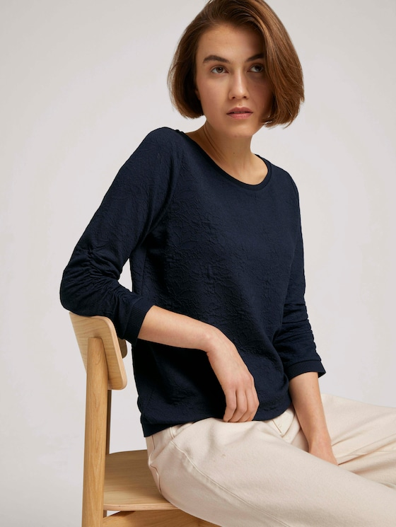 Dotted sweatshirt with ribbed cuffs - Women - Sky Captain Blue - 5 - TOM TAILOR Denim