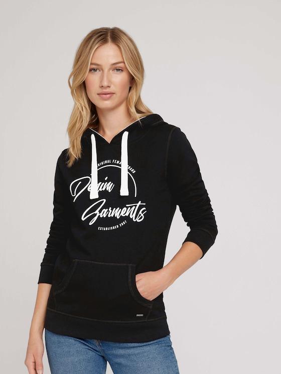 Sweatshirt with a hood and logo print - Women - deep black - 5 - TOM TAILOR Denim