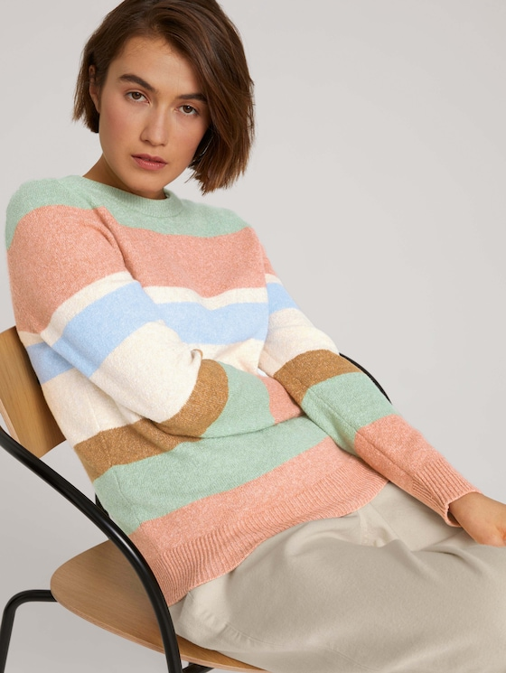 Striped sweater with ribbed cuffs - Women - multicolor blue knit stripe - 5 - TOM TAILOR Denim