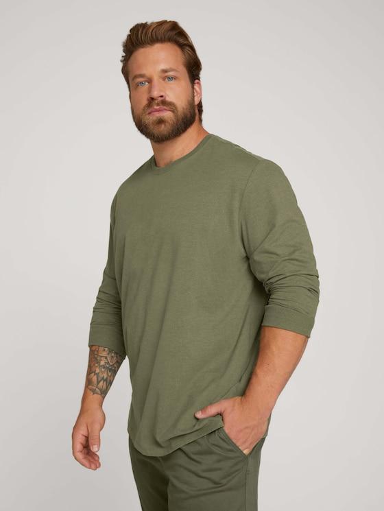 Langarmshirt mit Bio-Baumwolle - Männer - Light Oak Leaf Melange - 5 - Men Plus