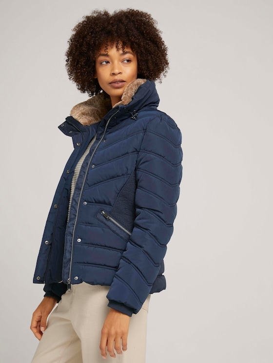 Stand-up collar puffer jacket with recycled polyester - Women - Sky Captain Blue - 5 - TOM TAILOR