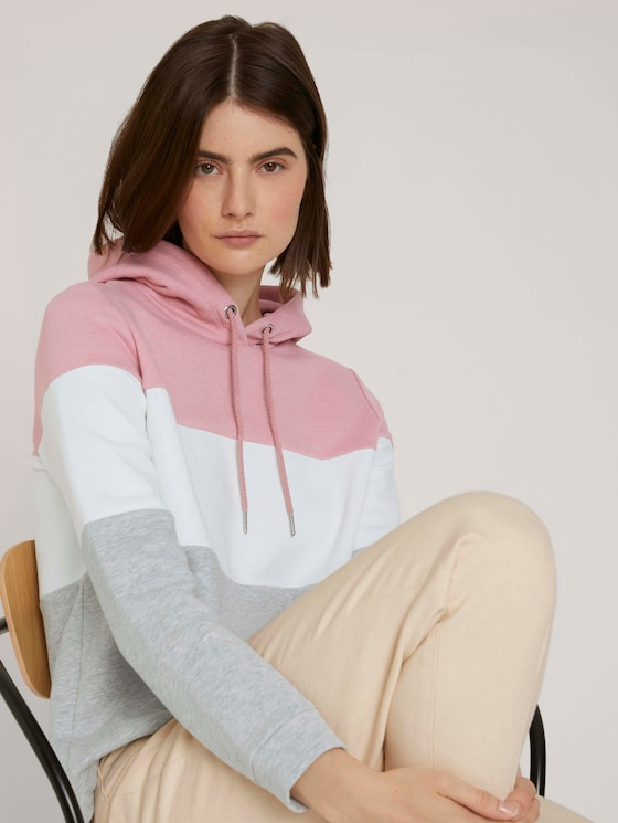 hoodie met kleurblokkering - Vrouwen - rose colorblock - 5 - TOM TAILOR Denim