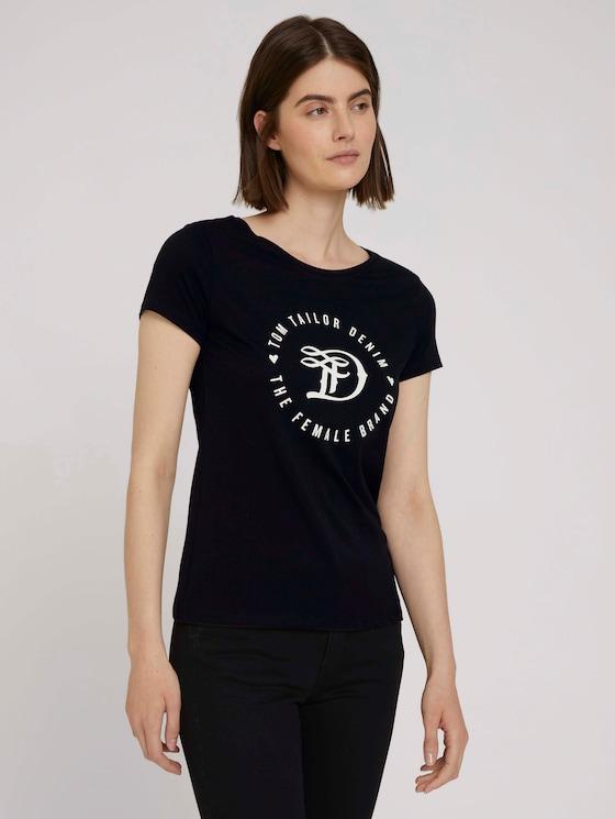T-shirt met print - Vrouwen - deep black - 5 - TOM TAILOR Denim
