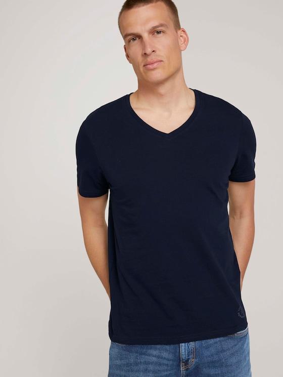 V-neck t-shirt in a double pack - Men - Sky Captain Blue - 5 - TOM TAILOR
