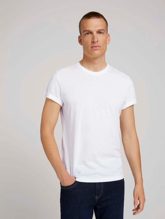 Basic t-shirt in a 3-pack - Men - White - 5 - TOM TAILOR