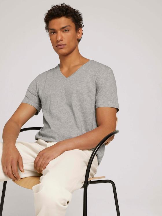 T-Shirt im Doppelpack - Männer - Middle Grey Melange - 5 - TOM TAILOR Denim