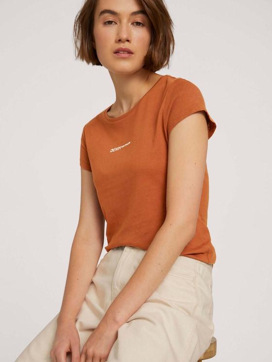 Slim Fit T-shirt met logo - Vrouwen - amber brown - 5 - TOM TAILOR Denim