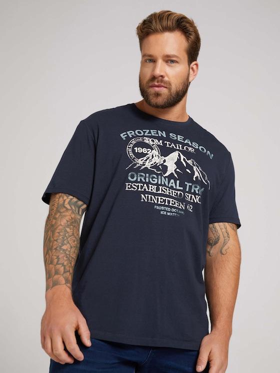 t-shirt with a print - Men - Sky Captain Blue - 5 - Men Plus