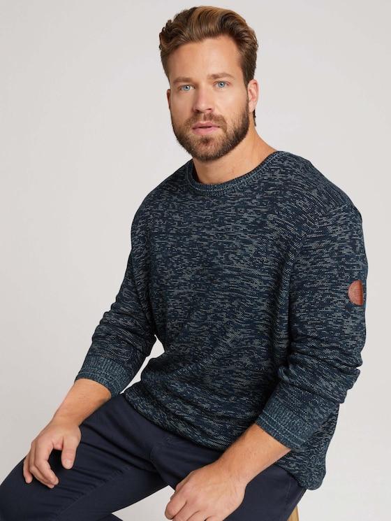 Organic cotton jumper - Men - navy blue shades structure - 5 - Men Plus