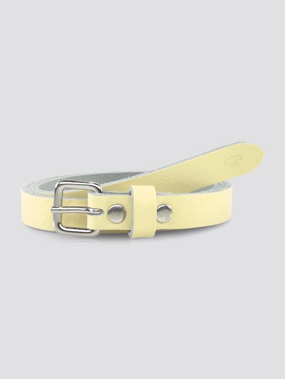 Pastellfarbener Ledergürtel - unisex - light yellow - 7 - TOM TAILOR