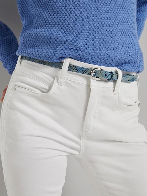 Leder-Taillengürtel mit Schlangenprint - Frauen - hellblau multi - 5 - TOM TAILOR