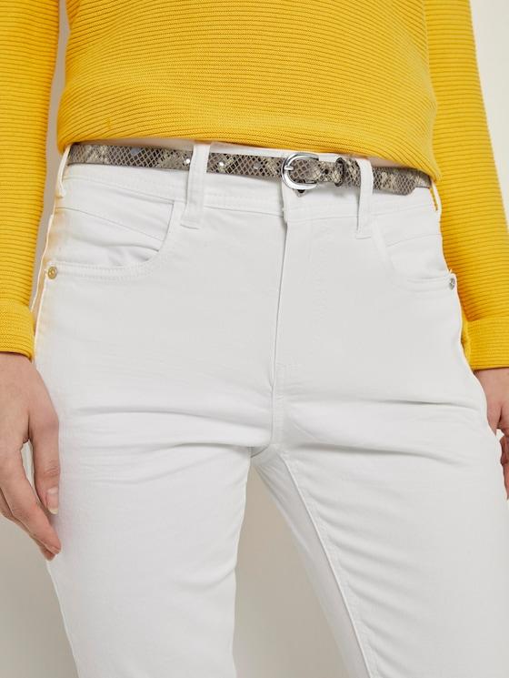 Leder-Taillengürtel mit Schlangenprint - Frauen - olive - 5 - TOM TAILOR