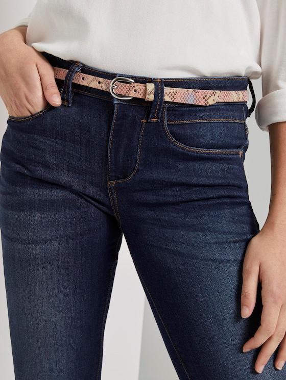 Leder-Taillengürtel mit Schlangenprint - Frauen - rosa multi - 5 - TOM TAILOR
