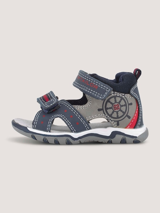 Sandalen mit Klettverschluss - unisex - navy-grey-red - 7 - TOM TAILOR