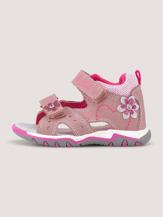 Sandalen mit Klettverschluss und Blumen - unisex - nude - 7 - TOM TAILOR