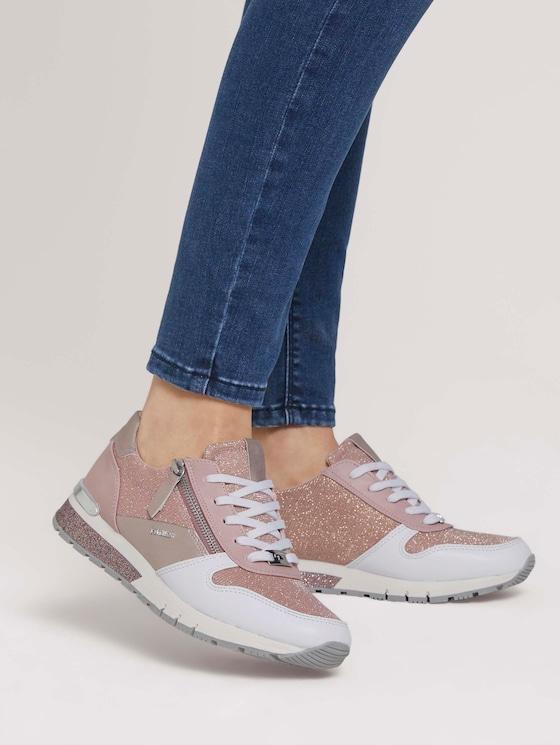 Sneaker mit Reißverschluss-Details - Frauen - rose - 5 - TOM TAILOR