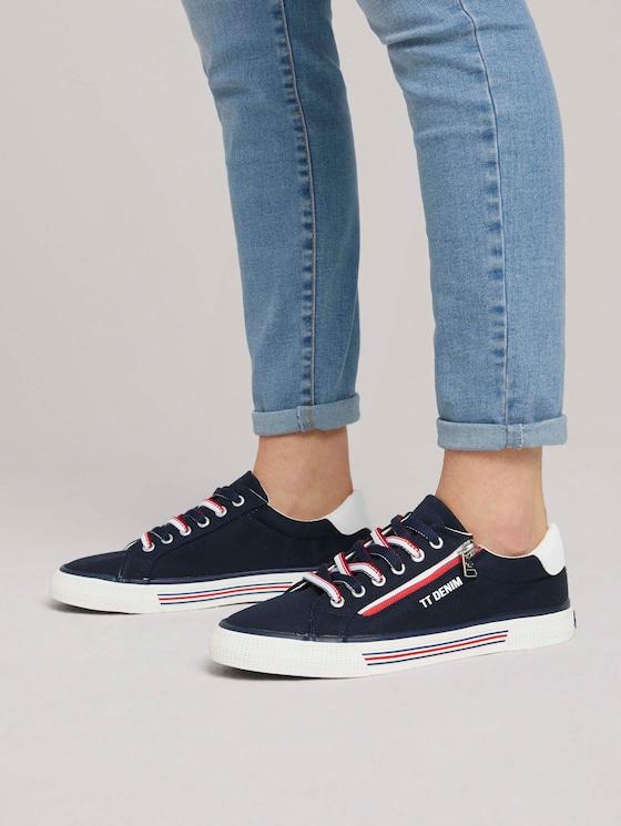 Sneaker mit Reißverschluss-Details - Frauen - navy - 5 - TOM TAILOR Denim