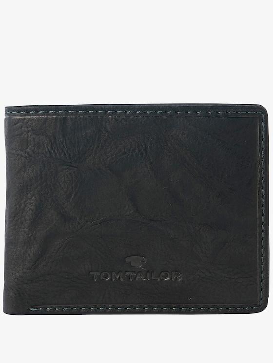 aufklappbare Geldbörse aus Leder - Männer - schwarz / black - 1 - TOM TAILOR