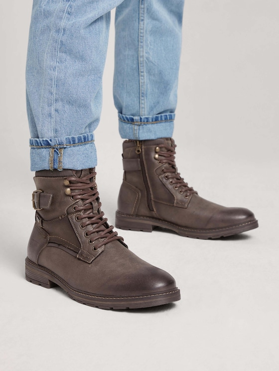 Lace-up boots with a decorative buckle - Men - mokka - 5 - TOM TAILOR Denim