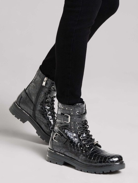 Boot with a snakeskin pattern - Women - black - 5 - TOM TAILOR