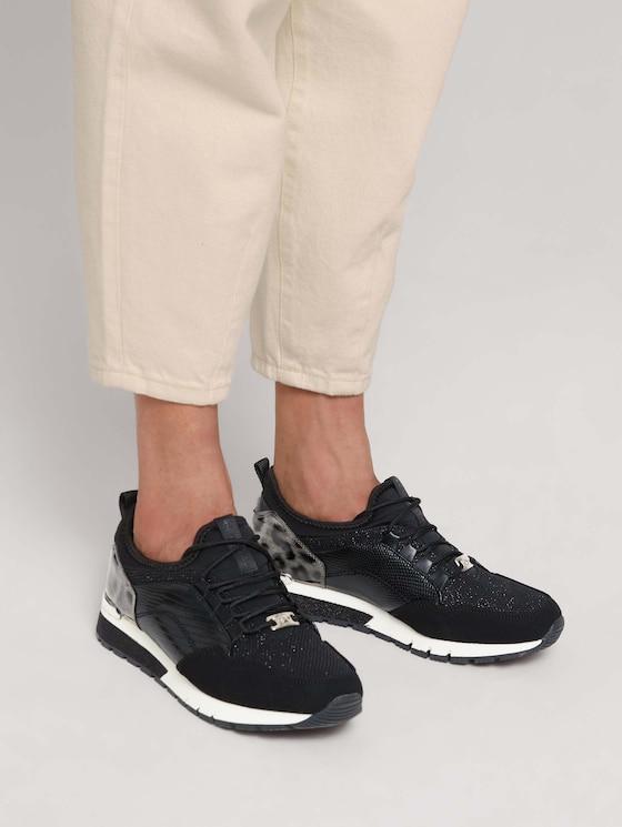 Sneaker with snakeskin and leopard pattern details - Women - black - 5 - TOM TAILOR