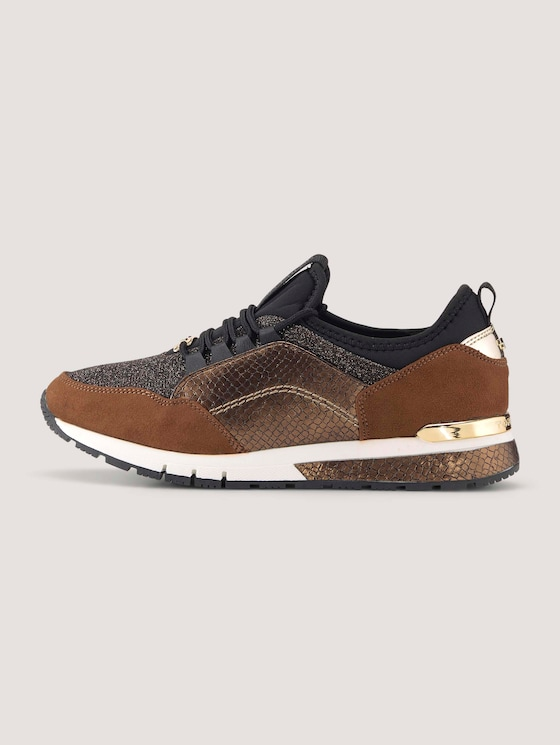 Sneaker with snakeskin and leopard pattern details - Women - brown - 7 - TOM TAILOR