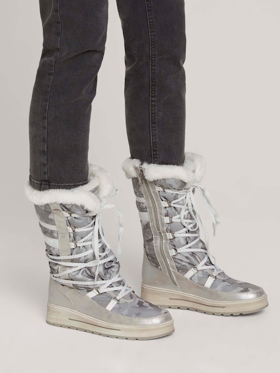 Lined boot with a camouflage pattern - Women - white-silver - 5 - TOM TAILOR