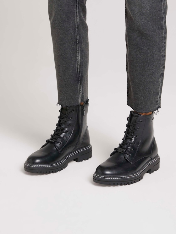 Ankle boot with laces - Women - black - 5 - TOM TAILOR