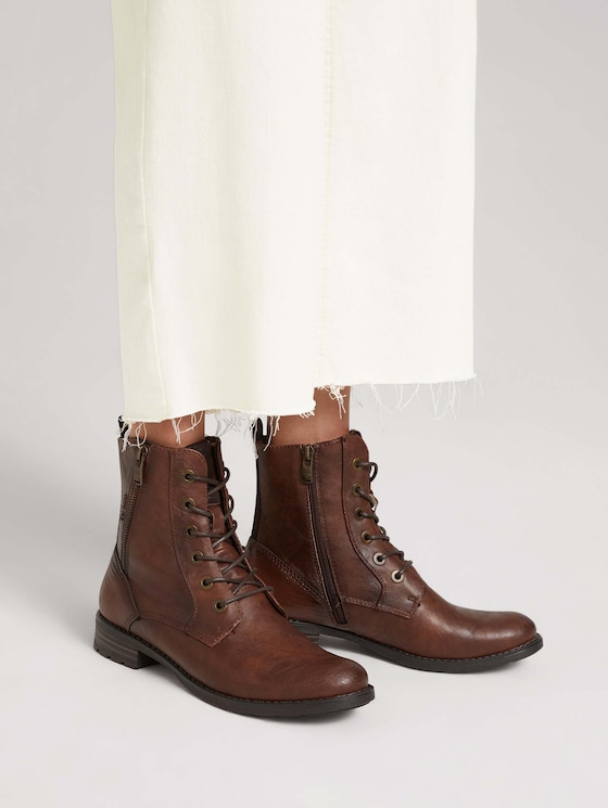 Boot with laces and a zipper - Women - cognac - 5 - TOM TAILOR
