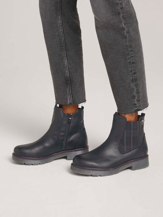 Ankle boot with checked elastic - Women - black - 5 - TOM TAILOR