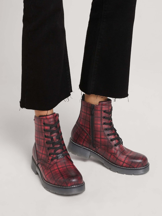 Boot with a checked pattern - Women - bordo - 5 - TOM TAILOR