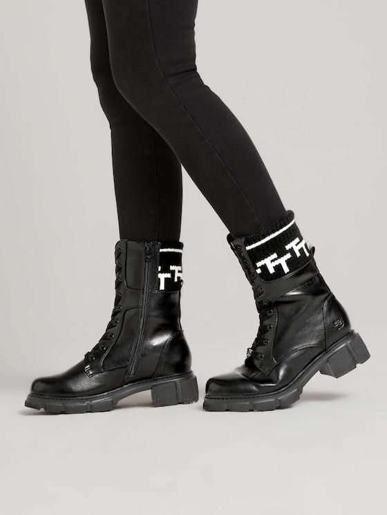 Knit-trimmed boot - Women - black - 5 - TOM TAILOR Denim