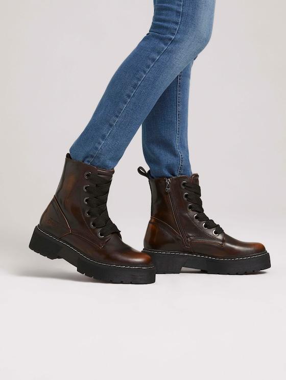 Boot with laces - Women - cognac - 5 - TOM TAILOR Denim