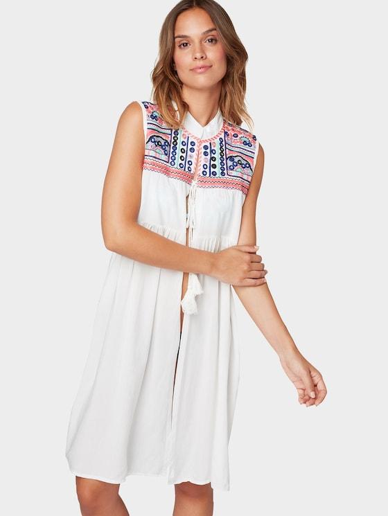 Lange tuniek met borduursels - Vrouwen - white/multicolor - 5 - TOM TAILOR