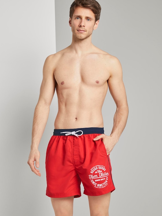 Badehose mit abgesetztem Bund - Männer - poppy red - 5 - TOM TAILOR