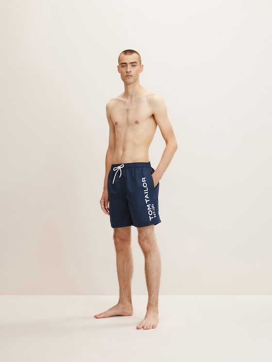 Swimming trunks with a large letter print on the side - Men - navy - 1 - TOM TAILOR