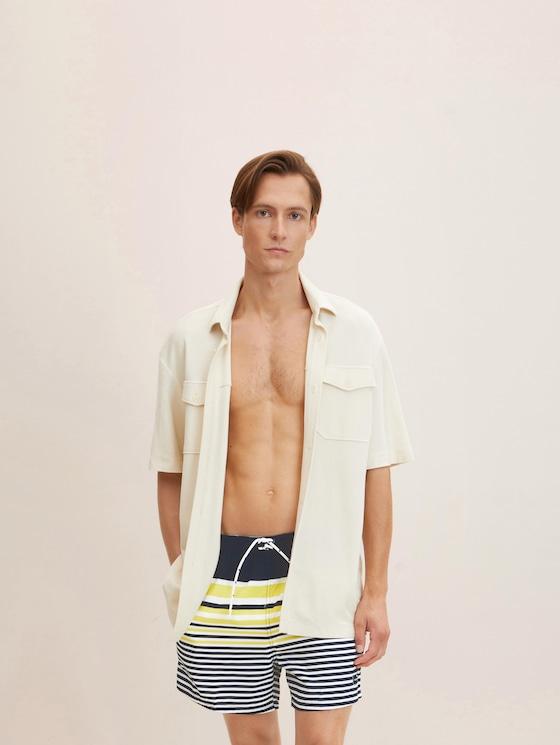 Striped swimming shorts - Men - dress blue - 5 - TOM TAILOR