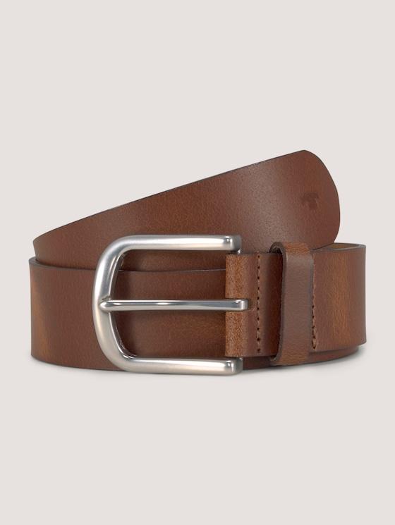 Klassischer Ledergürtel - unisex - light brown uni - 7 - TOM TAILOR