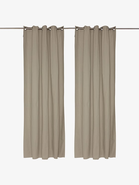 plain eyelet curtains - unisex - grey - 1 - TOM TAILOR