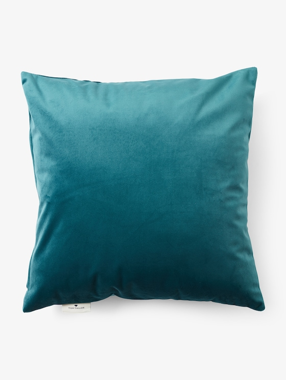 Cushion cover with velvet look - unisex - petrol - 7 - TOM TAILOR