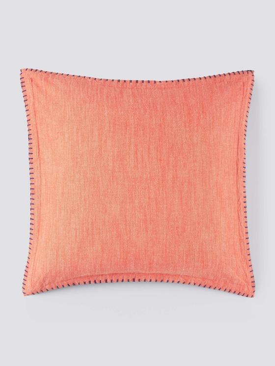 Kissenhülle mit kontrastfarbener Seitennaht - unisex - coral blue - 7 - TOM TAILOR