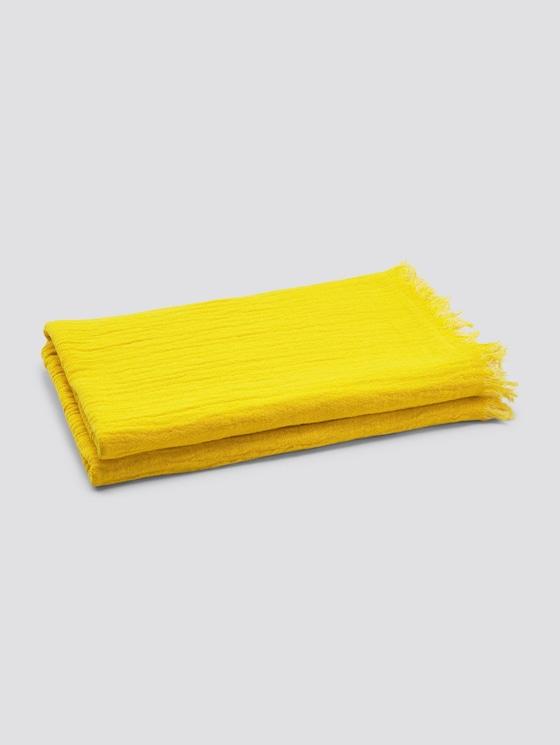 Wende-Decke mit gefranster Saumkante - unisex - yellow - 7 - TOM TAILOR