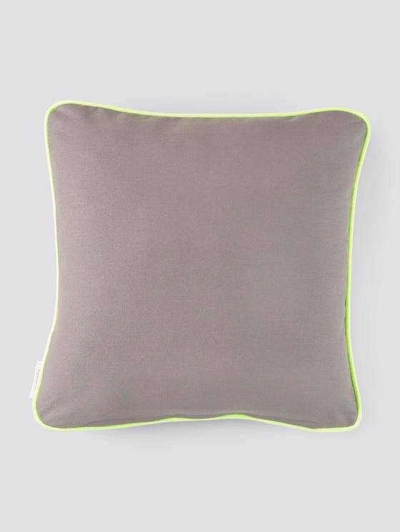 Kissenhülle mit Neon-Saumkante - unisex - anthracite - 7 - TOM TAILOR
