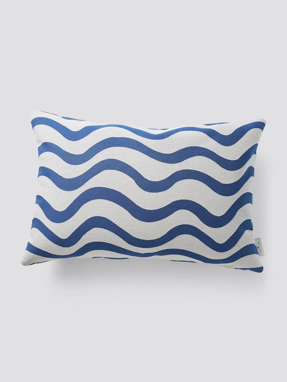 Kissenhülle mit Wellenprint - unisex - offwhite-blue - 7 - TOM TAILOR