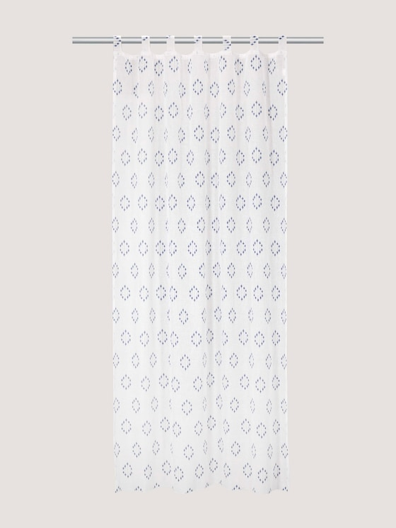 Patterned tab-top curtain - unisex - blue - 7 - TOM TAILOR